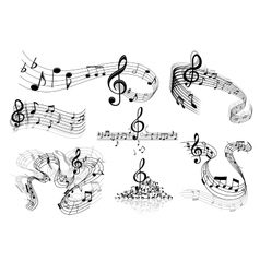 Abstract music staves with notes vector image