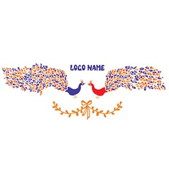 Logo or identity element with peacock pair vector