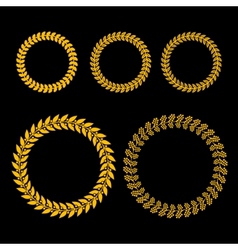 Gold Laurel Wreath Set on Black Background vector image