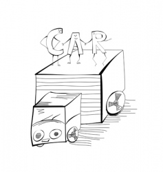 sketch with car vector image