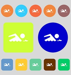 Swimming sign icon pool swim symbol sea wave 12 vector