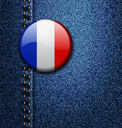 France bright colorful badge on denim fabric textu vector