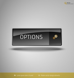 Black glossy button vector