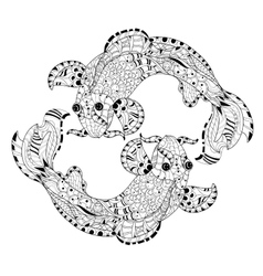 Zentangle stylized floral china fish carp doodle vector