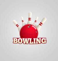 Bowling realistic theme editable on white vector