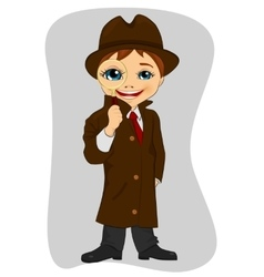 Detective boy looking through magnifying glass vector