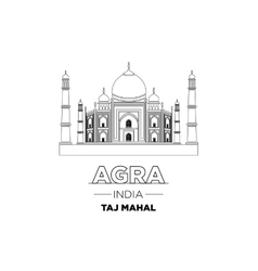 India city line taj mahal india typographic design vector