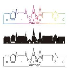 Aachen skyline linear style with rainbow vector