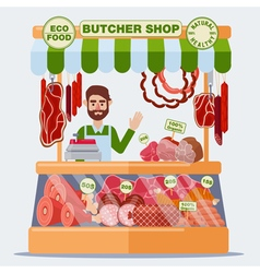 Butcher shop meat seller meat products vector