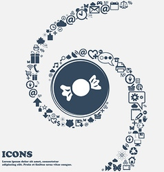 Candy icon in the center around the many beautiful vector