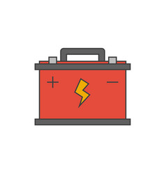 car battery flat line icon vector image