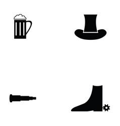 Cowboy icon set vector