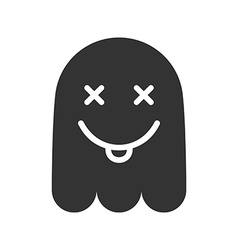 Crazy emoticon Icon of mad ghost smile with tongue vector image vector image