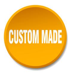 Custom made orange round flat isolated push button vector