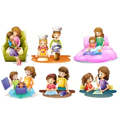 Different activities of a mother and a child vector image
