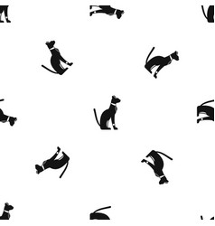 egyptian cat pattern seamless black vector image
