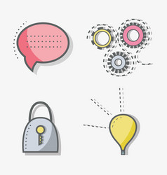Flat line chat bubble gear padlock and bulb icon vector