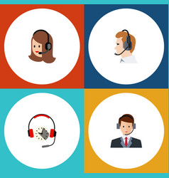 Flat telemarketing set of service headphone vector