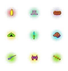 Forest icons set pop-art style vector