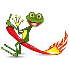 Frog on hot pepper vector