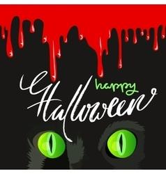Happy Halloween Black Cat Cute Design vector image