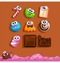 Icons candy for the game interface vector