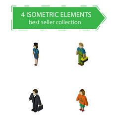 Isometric people set of plumber lady policewoman vector