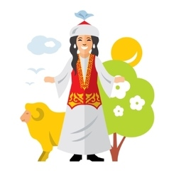 Kazakh Woman Historical clothes vector image