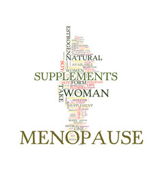 Menopause supplements text background word cloud vector