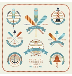 Nautical anchors label set 02 vector
