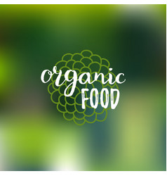 Organic food logo on blur background eco vector