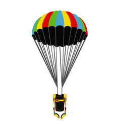 parachute pack with opened parachute skydiving vector image vector image