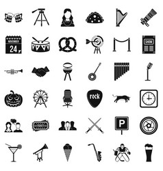 proceeding icons set simple style vector image