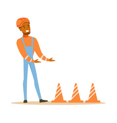 Road worker installing cone signals part of vector