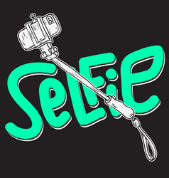 selfie stick design isolated artistic cartoon hand vector image