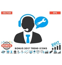 Service manager message flat icon with 2017 bonus vector