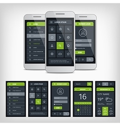 Set of mobile user aplication interface template vector image vector image