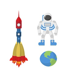 Set space astronaut planet Earth rocket vector image