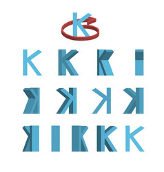 Sheet of sprites rotation of cartoon 3d letter k vector