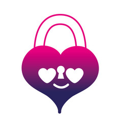 Silhouette heart padlock in love kawaii personage vector