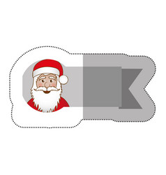 Sticker ribbon with face cartoon santa claus vector