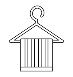 Striped scarf on a coat hanger icon outline style vector