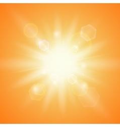 Summer sun on orange background vector