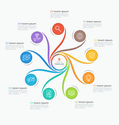 swirl style infographic template with 9 options vector image vector image