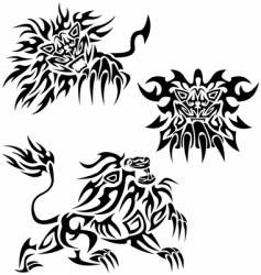 tribal lions vector image vector image