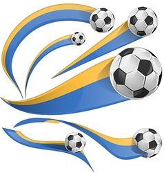 ukraine flag set with soccer ball vector image vector image