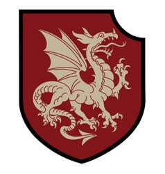 Winged heraldic dragon and heraldic shield vector