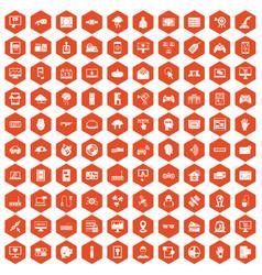 100 virtual icons hexagon orange vector