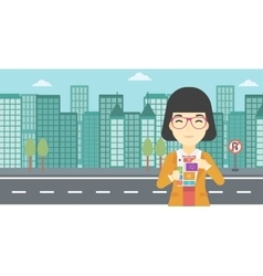 Woman with modular phone vector