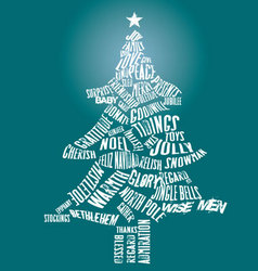 Merry christmas tree text vector